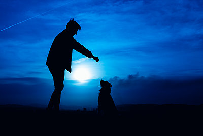 silhouette of a young man feeding his dog with blue night light - p1166m2191758 by Cavan Images
