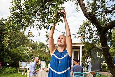 Woman picking apples from apple tree - p788m1165337 by Lisa Krechting