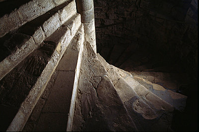 Framlingham Castle. Interior view of steps. - p8551738 by English Heritage photography