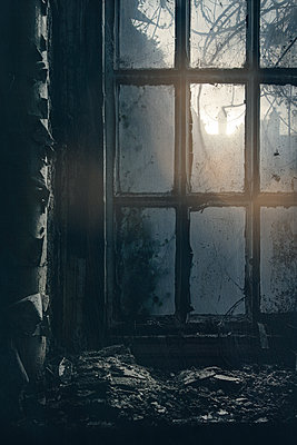 Dirty window of abandoned house - p1280m2186108 by Dave Wall