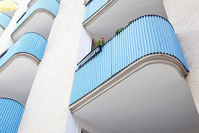 Blue balconys - p606m881714 by Iris Friedrich