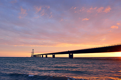 Sunset at the Great Belt Bridge - p715m880670 by Marina Biederbick