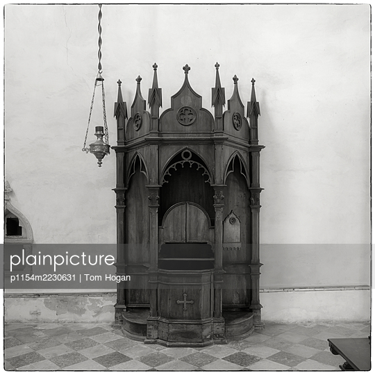 Italy, Venice, Confessional and lantern - p1154m2230631 by Tom Hogan