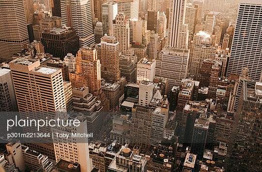 Aerial view highrise buildings, New York City, New York, USA - p301m2213644 by Toby Mitchell