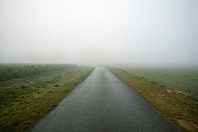 Country road in fog - p3882140 by L.B.Jeffries