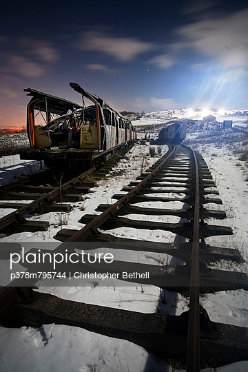 Exploded train in snow - p378m795744 by Christopher Bethell