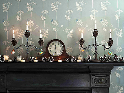 Lit candles with clock and pinecones on fireplace with botanic wallpaper - p349m790863 by Polly Eltes