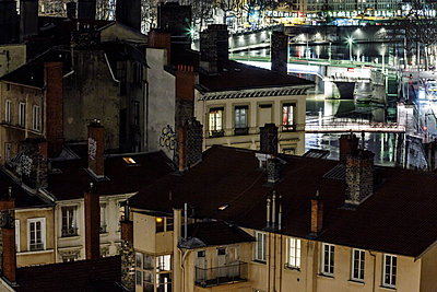 Town of Lyon at night - p910m1467688 by Philippe Lesprit
