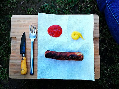 Fried sausage - p551m1585170 by Kai Peters
