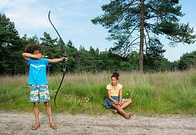 Kids play in the woods - p1132m1152764 by Mischa Keijser