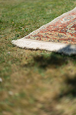 An oriental rug is laid on sun scorched grass on a hot summer's day. - p1433m2019991 by Wolf Kettler