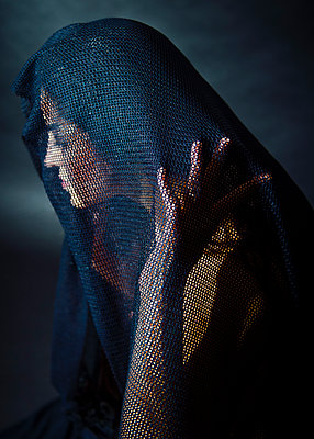 Woman with veil - p1508m2022379 by Mona Alikhah