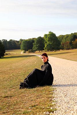 Portrait of a woman in a black  - p1521m2215001 by Charlotte Zobel