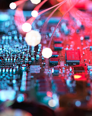 Inside a laptop computer, mother board and electronic components - p300m2023638 by Andrew Brookes