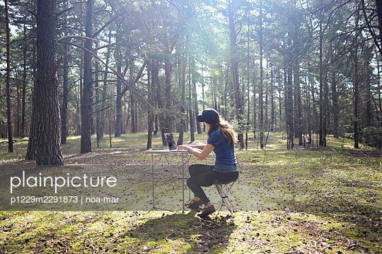 Woman working on laptop in the forest - p1229m2291873 by noa-mar