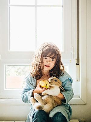 Little girl feeding her rabbit - p1522m2176537 by Almag
