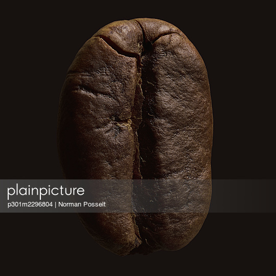 Close up brown coffee bean on black background - p301m2296804 by Norman Posselt