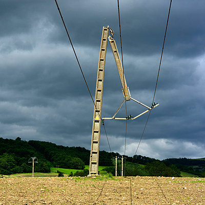 Electric pole snapped in half - p813m938437 by B.Jaubert