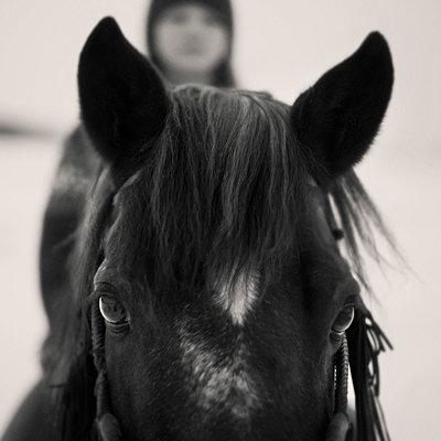 Caucasian girl riding horse outdoors - p555m1412871 by Vladimir Serov