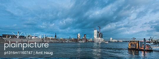 Blick über Elbe auf Cap San Diego und Elbphilharmonie, Hamburg, Deutschland - p1316m1160747 von Arnt Haug