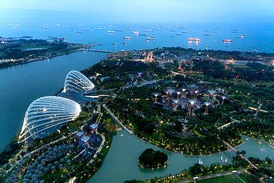 Singapore Harbor - p1154m2022447 by Tom Hogan