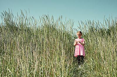 Sweet little girl on trail in Icelandic field - p1166m2130726 by Cavan Images