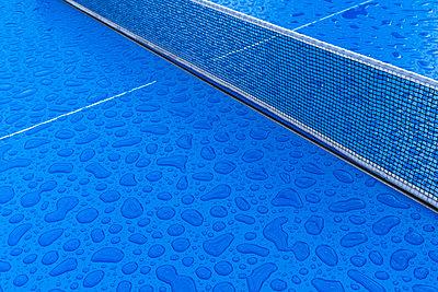 Rain drops on a ping-pong table - p1338m2297019 by Birgit Kaulfuss
