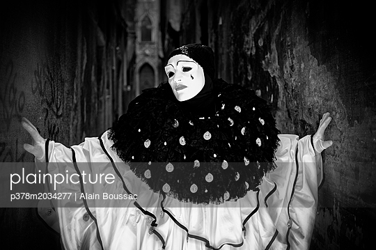 Person in costume and mask