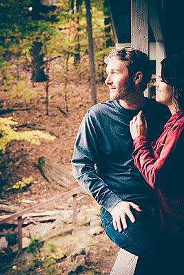 Lake George Fall Couples Portrait  - p1086m1488774 by Carrie Marie Burr