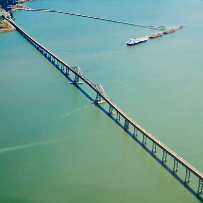 Bridge Over a Large Bay - p1100m2090800 by Mint Images