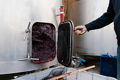 Man opening storage tank filled with crushed grapes - p300m2225903 by Ezequiel Giménez