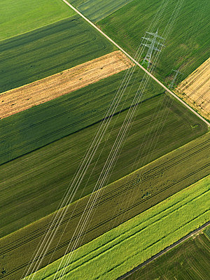 Aerial view vibrant green agricultural crops, Donaueschingen, Baden-Wuerttemberg, Germany - p301m2017663 by Stephan Zirwes