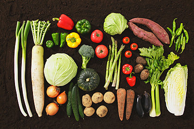 Collection Of Various Vegetables Against Brown Background  - p307m711856f by AFLO