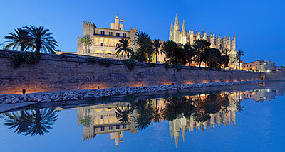 Cathedral of Santa Maria of Palma (La Seu) and Almudaina Palace at Parc de la Mar, Palma de Mallorca, Majorca (Mallorca), Balearic Islands, Spain, Mediterranean, Europe - p871m975957f by Markus Lange