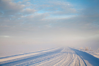 Tire tracks in snowy rural road - p924m807213f by Tiina & Geir