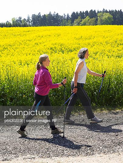 Zwei Frauen beim Nordic Walking  - p6430223f von senior images RF