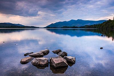 Derwent Water (Derwentwater) at sunset, Lake District National Park, UNESCO World Heritage Site, Cumbria, England, United Kingdom - p871m2046558 by Matthew Williams-Ellis