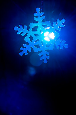 Snow flake decoration with backlight - p1057m2045502 by Stephen Shepherd