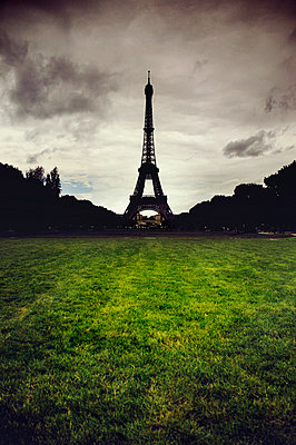 Silhouetted of the Eiffel Tower - p1072m829292 by Neville Mountford-Hoare