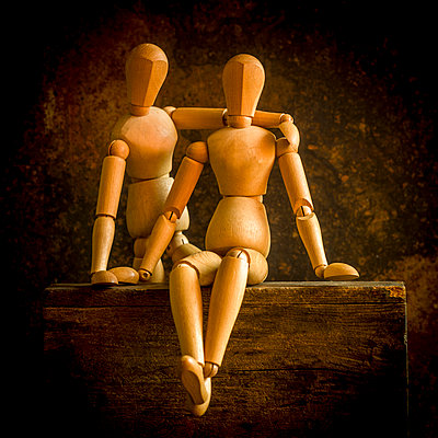 Two wooden mannequins - p813m1222300 by B.Jaubert
