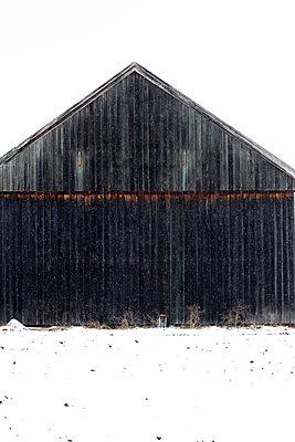 Schwarze Scheune im Winter mit Schnee - p1638m2244504 von Macingosh