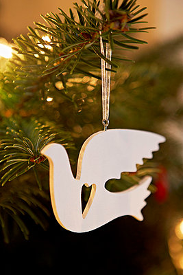 Dove Christmas tree ornament hanging in London home UK - p349m695299 by Jon Day