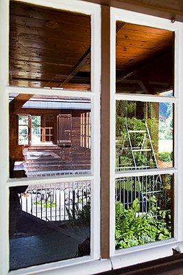 Window of alpine hut - p756m1464826 by Bénédicte Lassalle