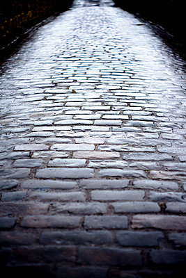 A wet cobbled road reflecting light - p1302m1148564 by Richard Nixon