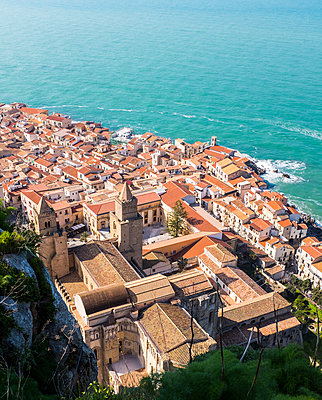 View of Cefalu at the seaside - p280m1111757 by victor s. brigola