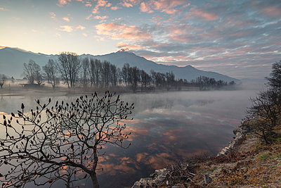 Clouds reflected in River Mera at dawn, Sorico, Como province, Lower Valtellina, Lombardy, Italy, Europe - p871m1533908 by Roberto Moiola