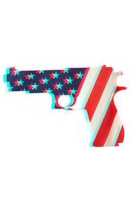 Hand gun against white background - p975m2287885 by Hayden Verry