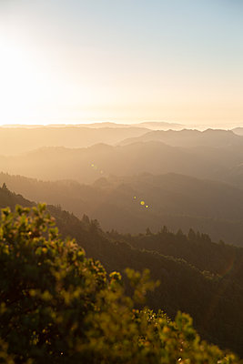 View over mountain landscape at sunrise, Mount Tamalpais - p756m2211532 by Bénédicte Lassalle