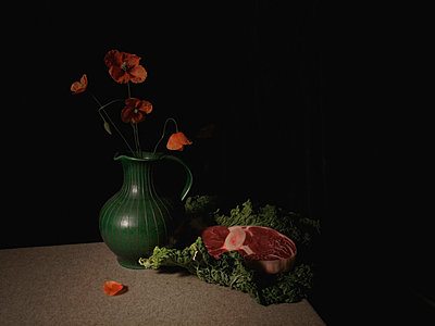 Poppies and meat - p444m924656 by Müggenburg