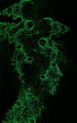 Head made with fractals - p1028m2015397 von Jean Marmeisse